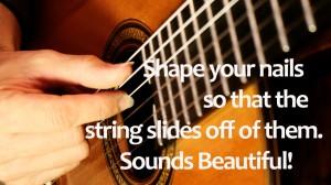 Classical guitar nail shape