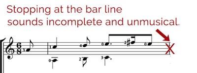 bar lines sound unmusical