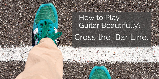 cross the bar line for classical guitar phrasing