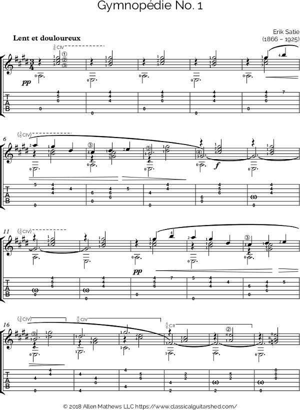 Free Classical Guitar Sheet Music] Erik Satie - Gymnopedie No. 1