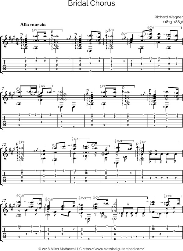 Free Classical Guitar Sheet Music Richard Wagner Bridal Chorus